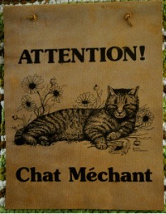 Panneau attention chat méchant
