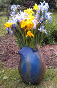 Flowers in Vase in Yard